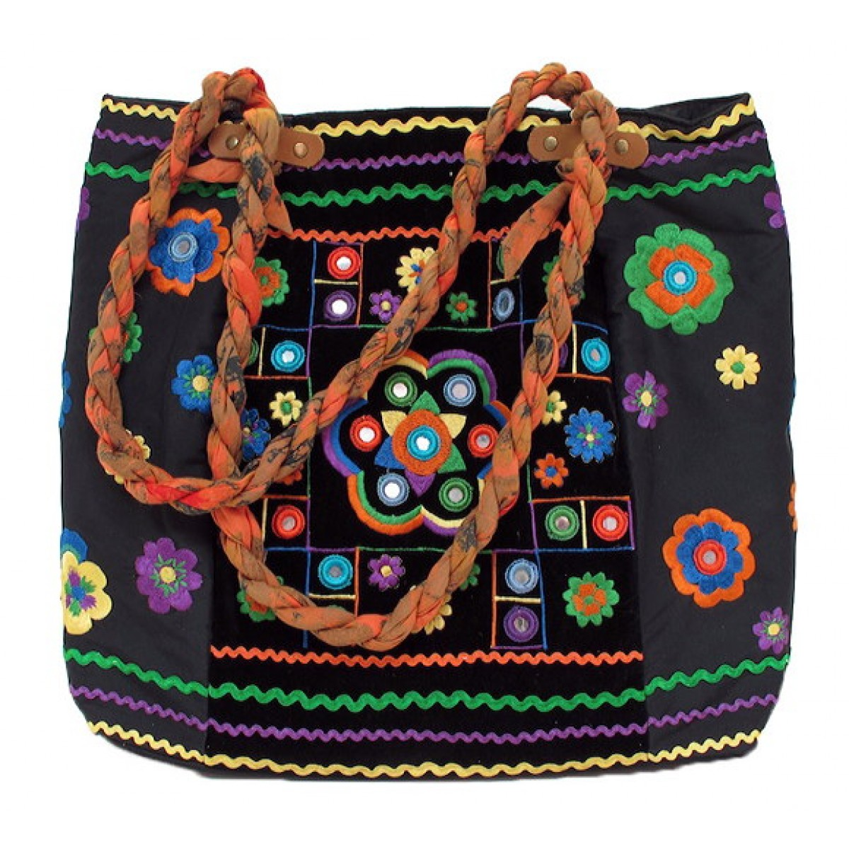 Embroidered Velvet Tote