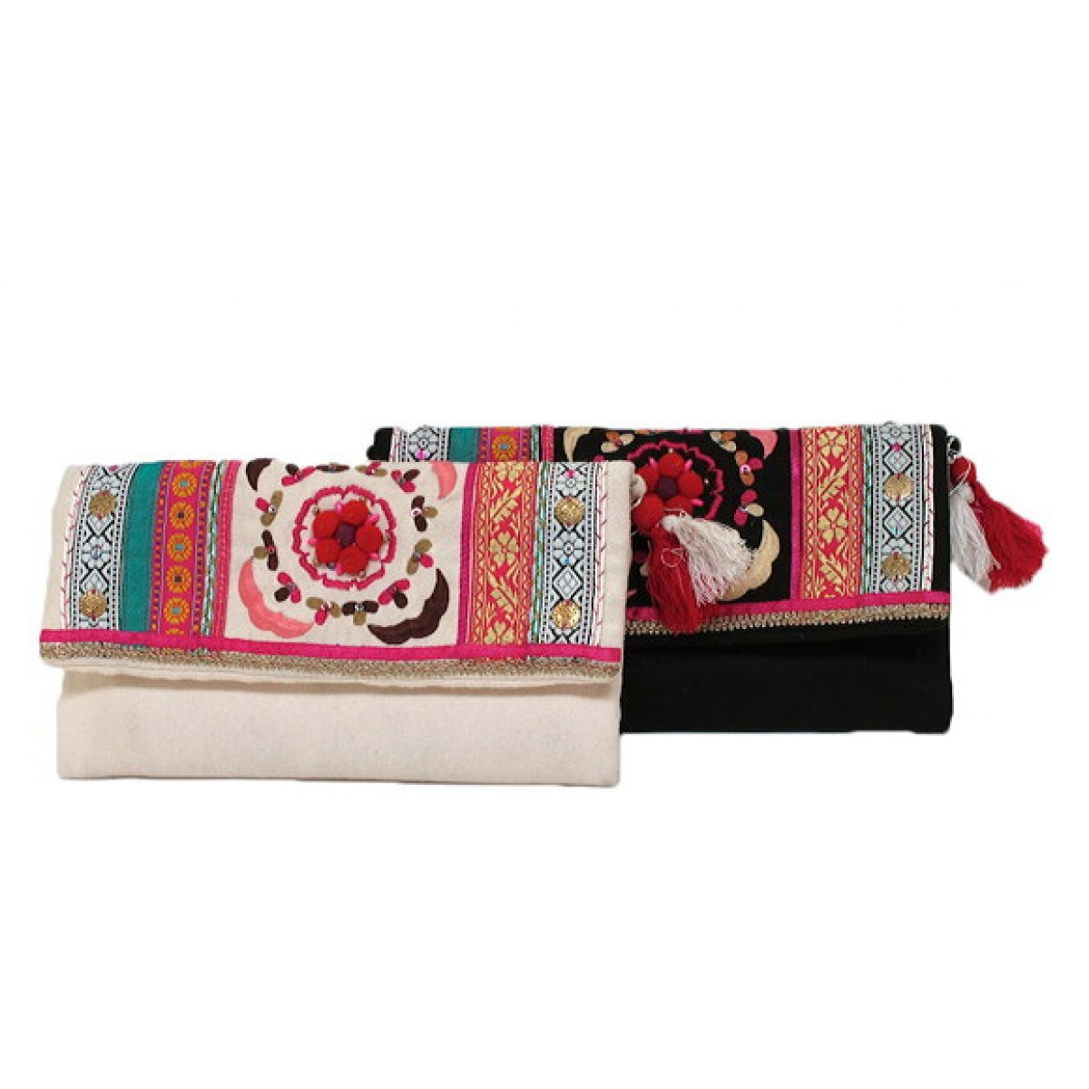 Floral Embroidery Clutch
