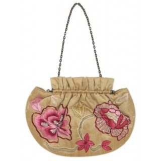 Floral Embroidery Frame Purse