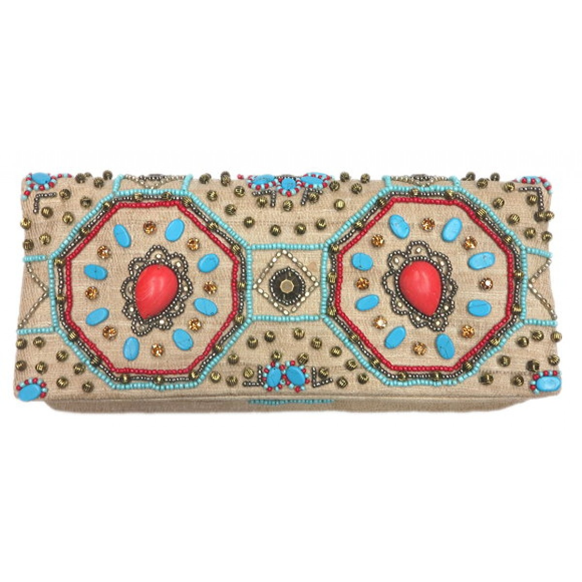 Fold Over Clutch Stone & Crystal Embellishment