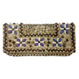 Fold Over Clutch Wood Beads