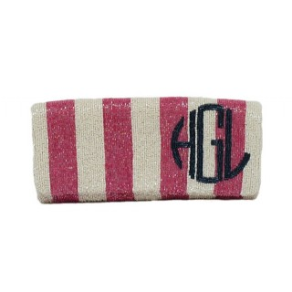 Fold over Vertical Striped Clutch with Round Monogram