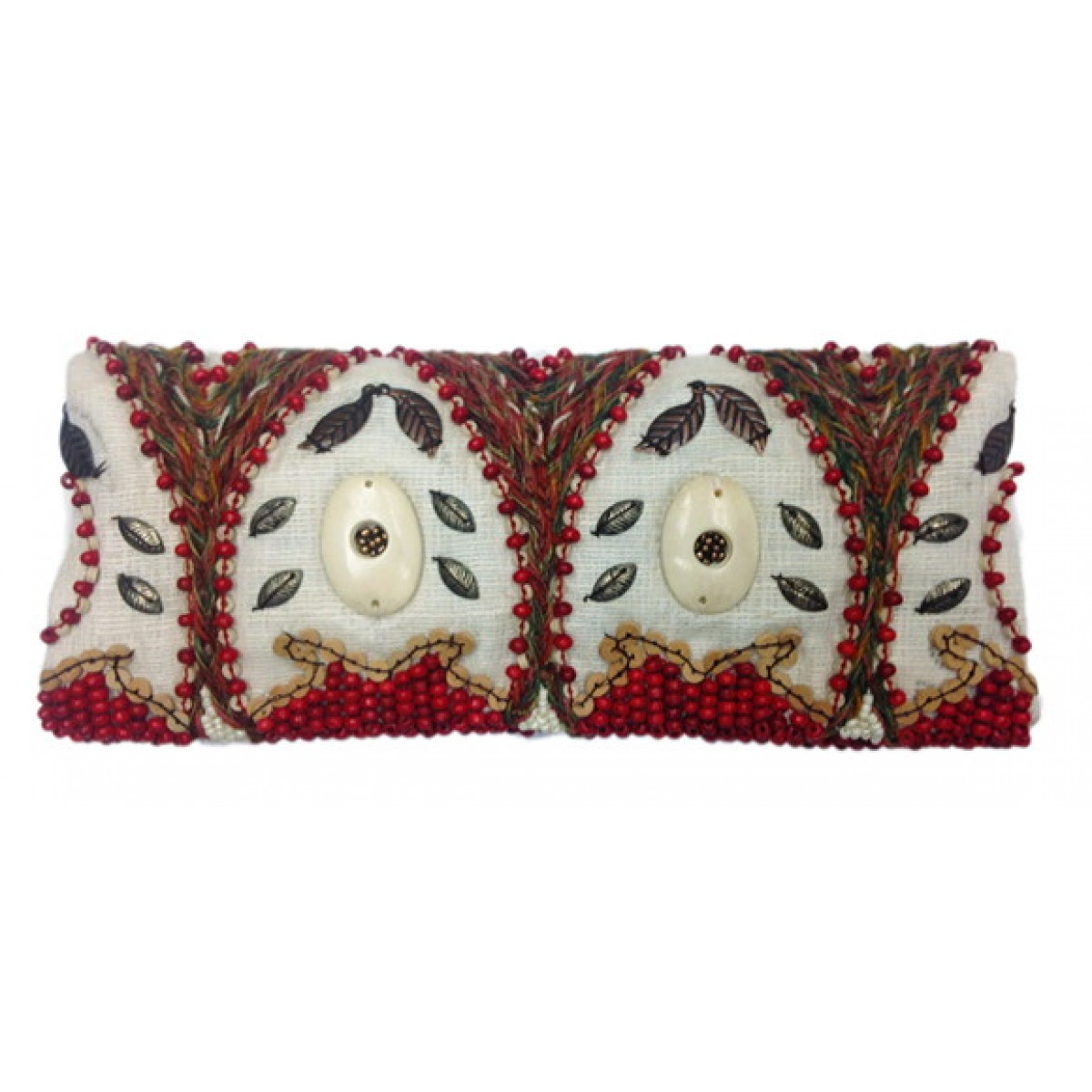 Foldover Clutch With Bone / Wood Beads