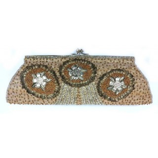 Frame Clutch with Floral Metal Embellishment