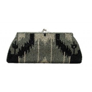 Framed Clutch with Ikat Pattern