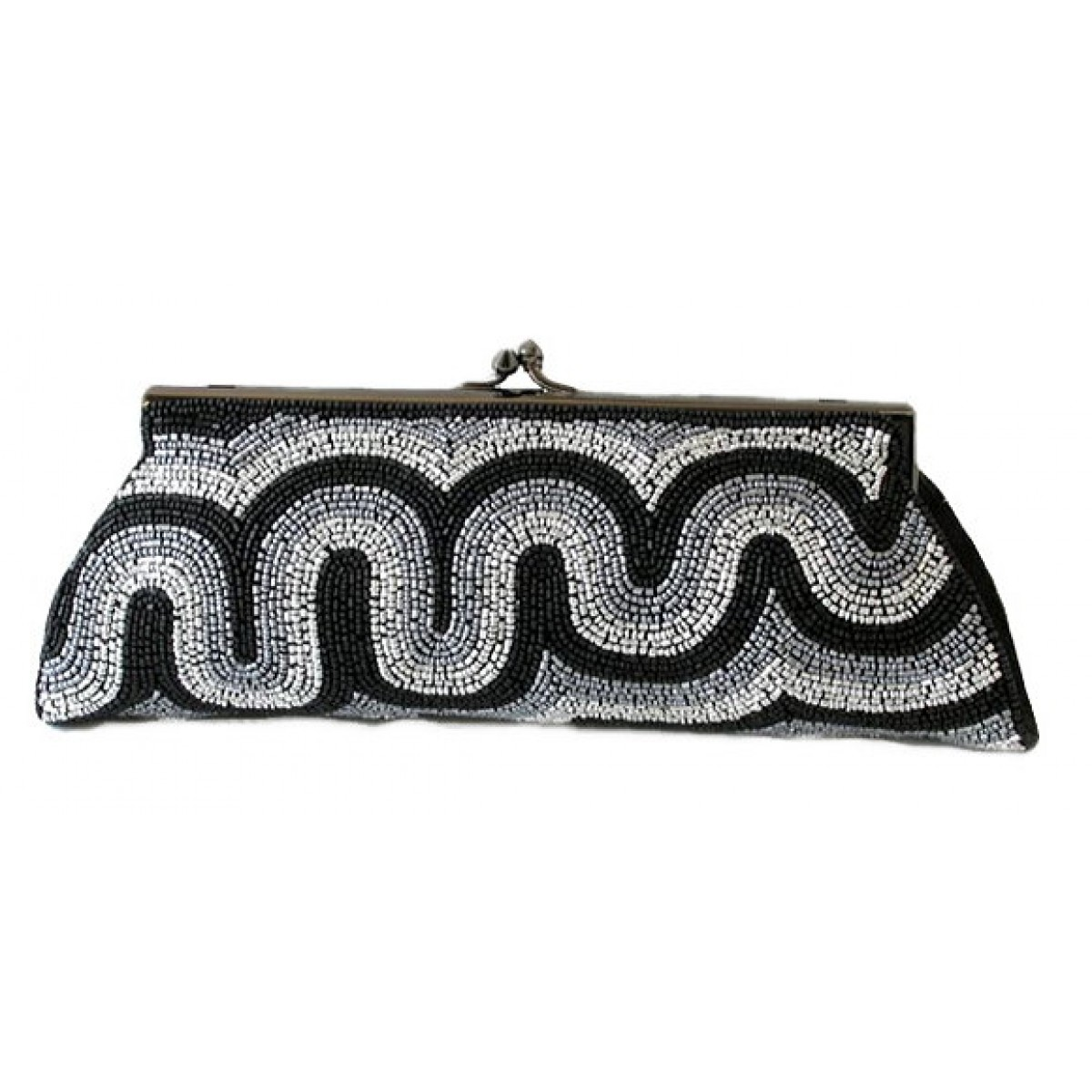 Framed Clutch with Swirl Beading