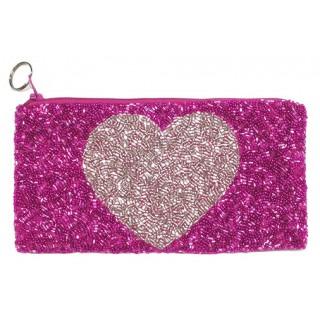 Fully Beaded Heart Bag
