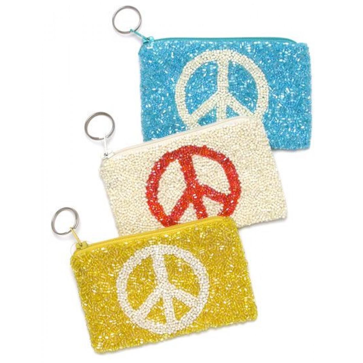 Fully Beaded Peace Bag
