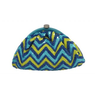 Gathered Framed Clutch Chevron Pattern