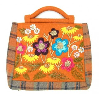 Handmade Thread Work Flower Beaded Classy Handbag
