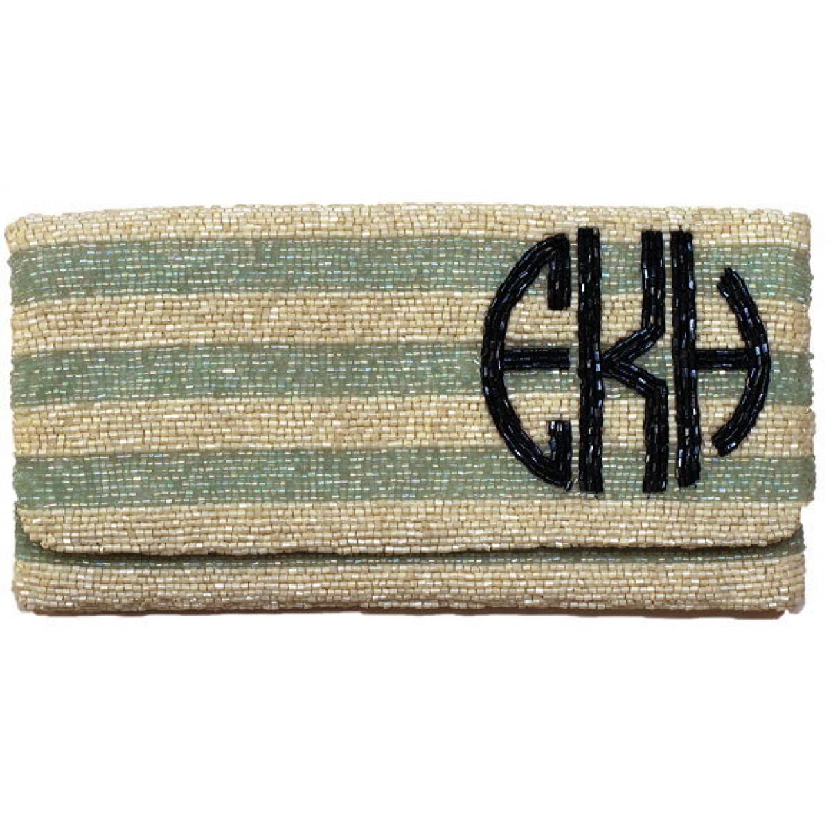 Horizontal Stripe Monogram Clutch
