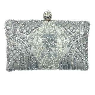 Intricate Pearls & Crystal Box Clutch