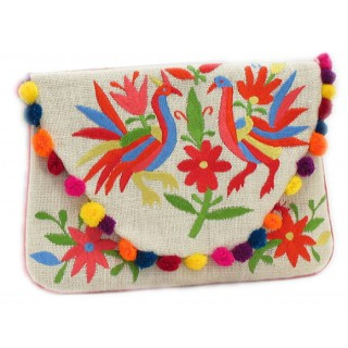 Jute Birds With Pom Poms Clutch