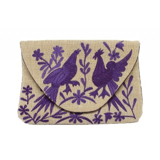Jute Clutch With Embroidered Birds