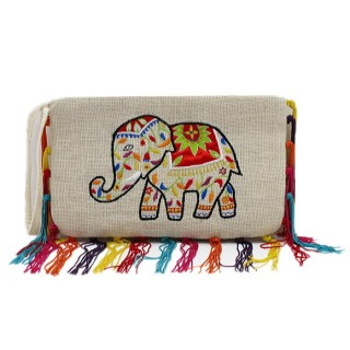 Jute Elephant Wristlet with Fringes