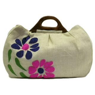Jute Floral Beaded Tote with Wooden Handles