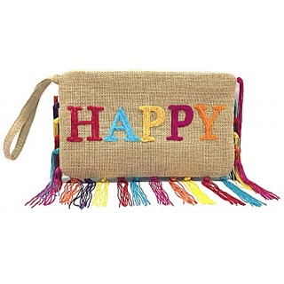 Jute Fringe Bag- Happy