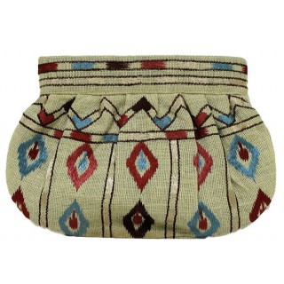 Jute Ikat Embroidered Clutch