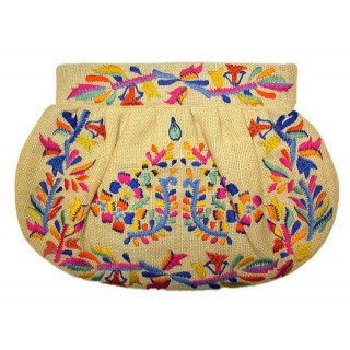 Jute Pleated Embroidered Clutch