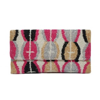 Large Beaded Ikat Clutch