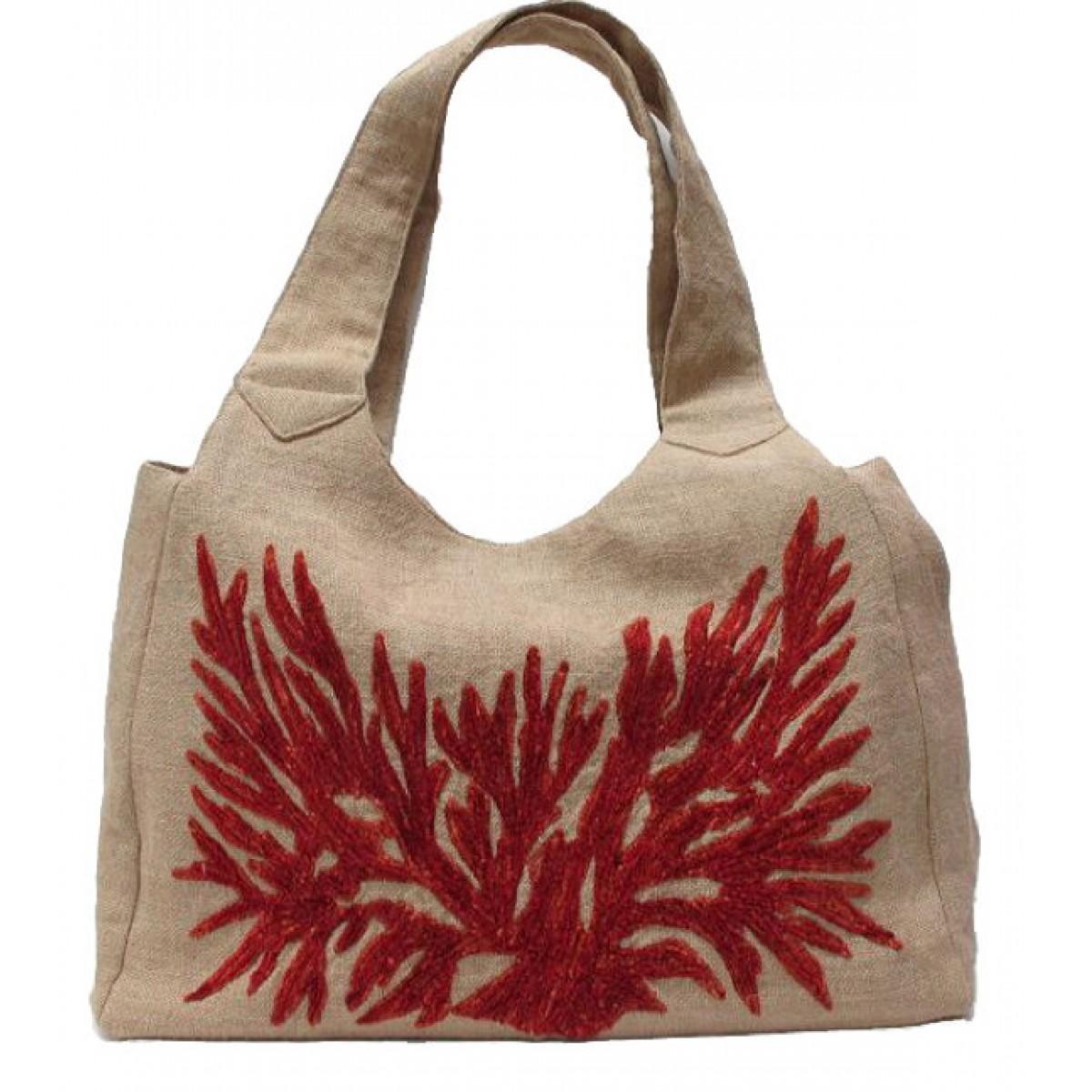 Large Jute Bag with Coral Reef Motif