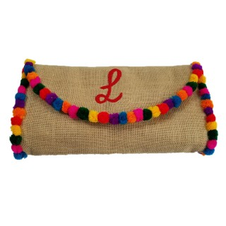 Large Jute Clutch Pompoms Initials
