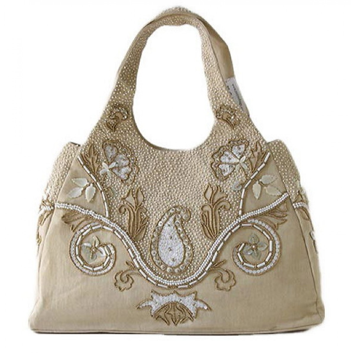 Large Tote Mother of Pearl Paisley Beading