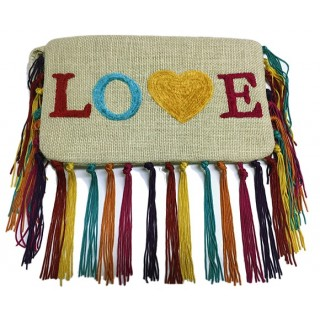 Large Zipper Pouch With Fringe