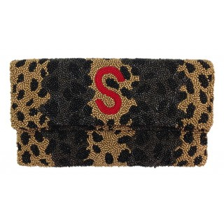 Leopard Print Clutch with Single Initial