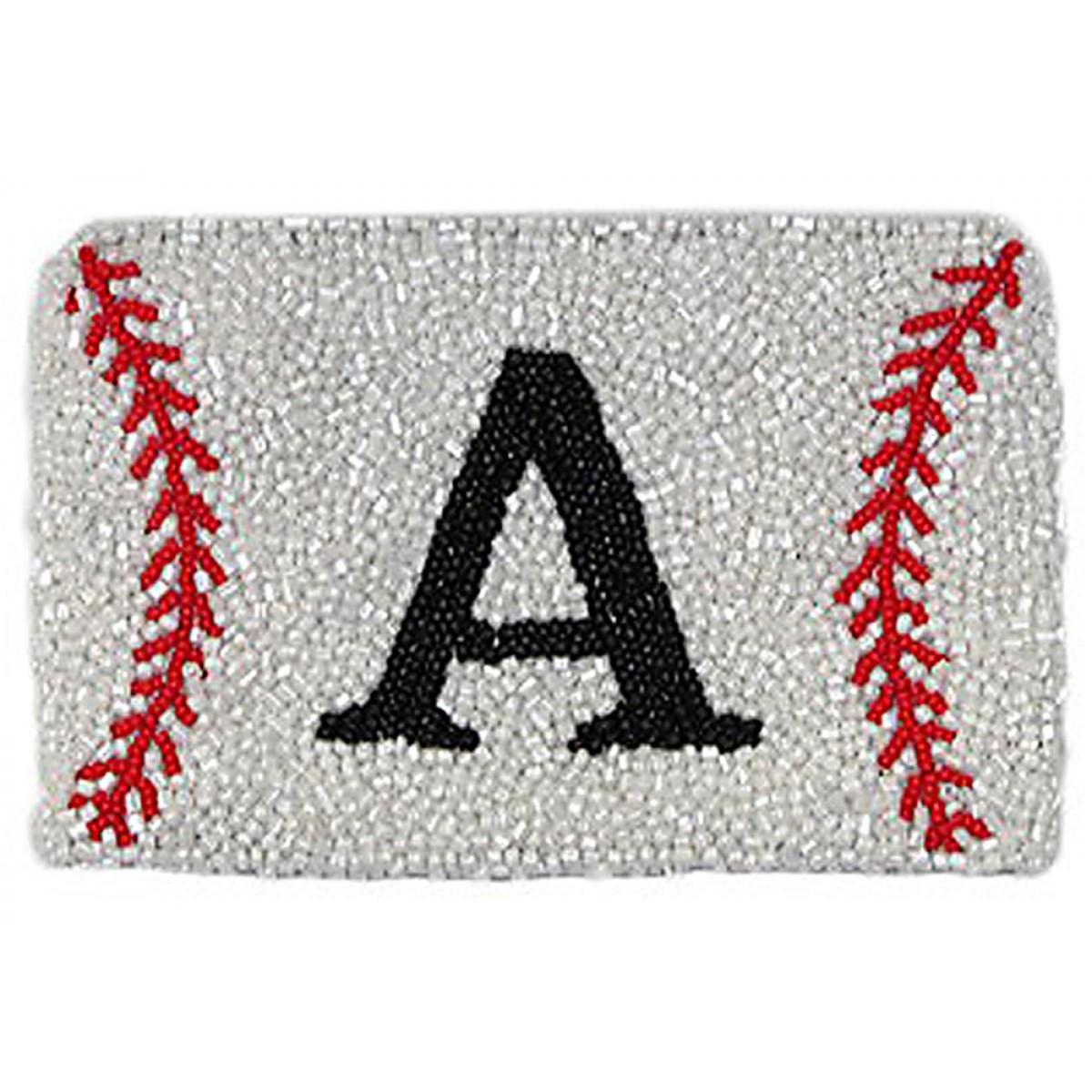 Monogram Baseball Coin Purse