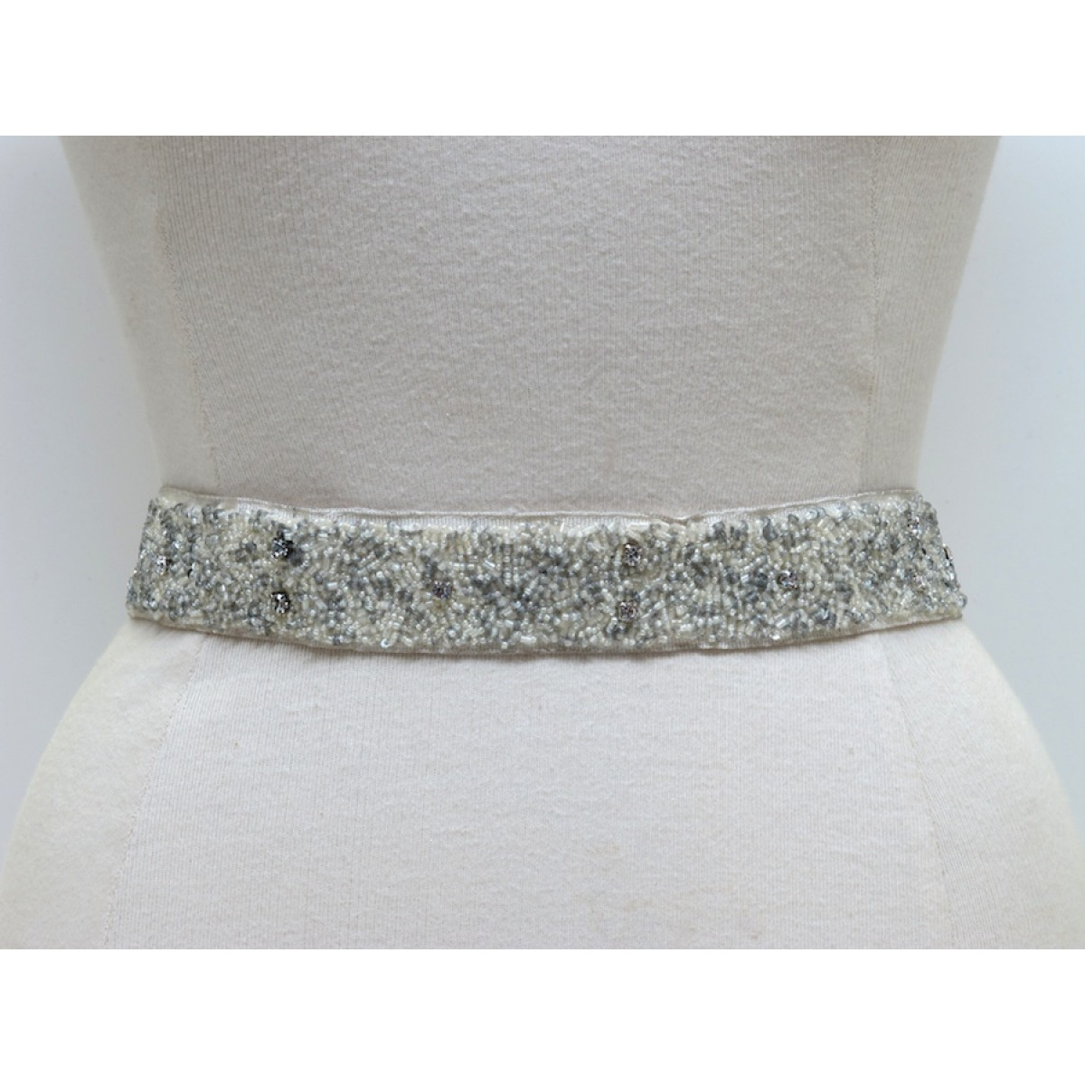 Narrow Mixed Bead & Scattered Crystal Belt