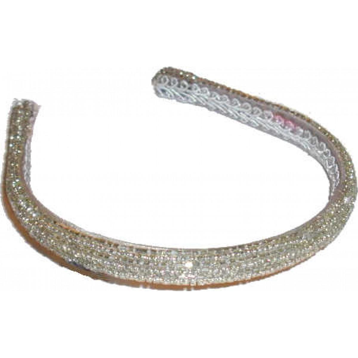 Narrow White Crystal Beaded Head Band
