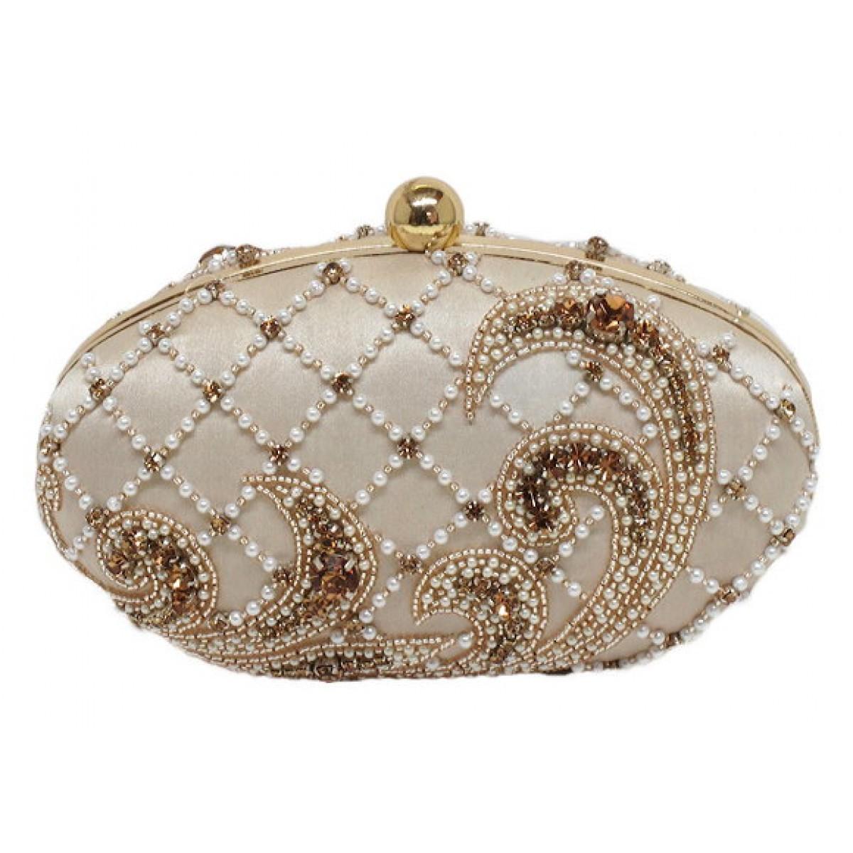 Oval Box Bag with Pearl and Crystal Embelishments