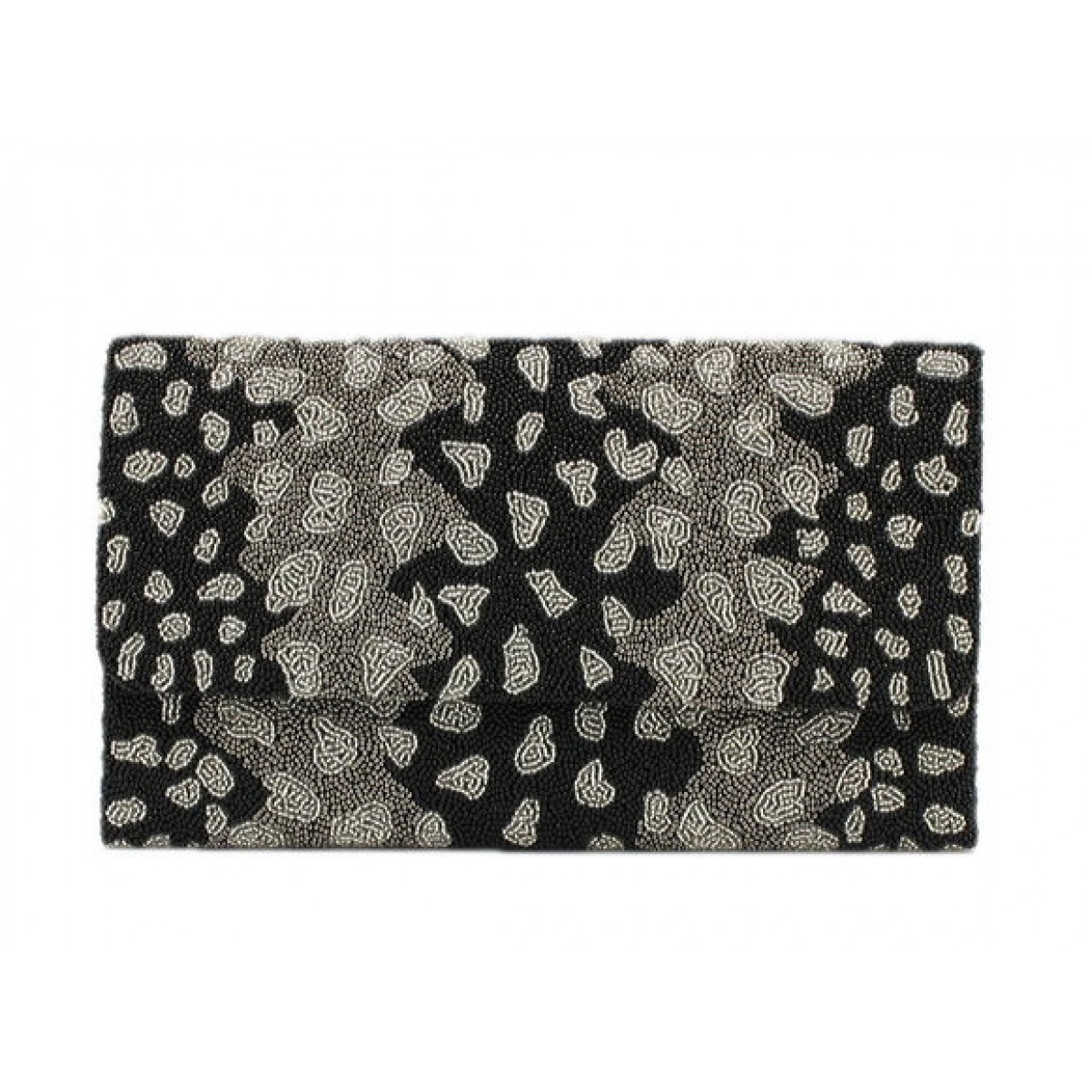 Oversize Beaded Clutch Cheetah Print