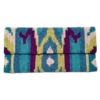 Oversize Wood Bead Ikat Clutch