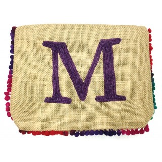Personalized Jute Bag With Tie Dye Pompoms