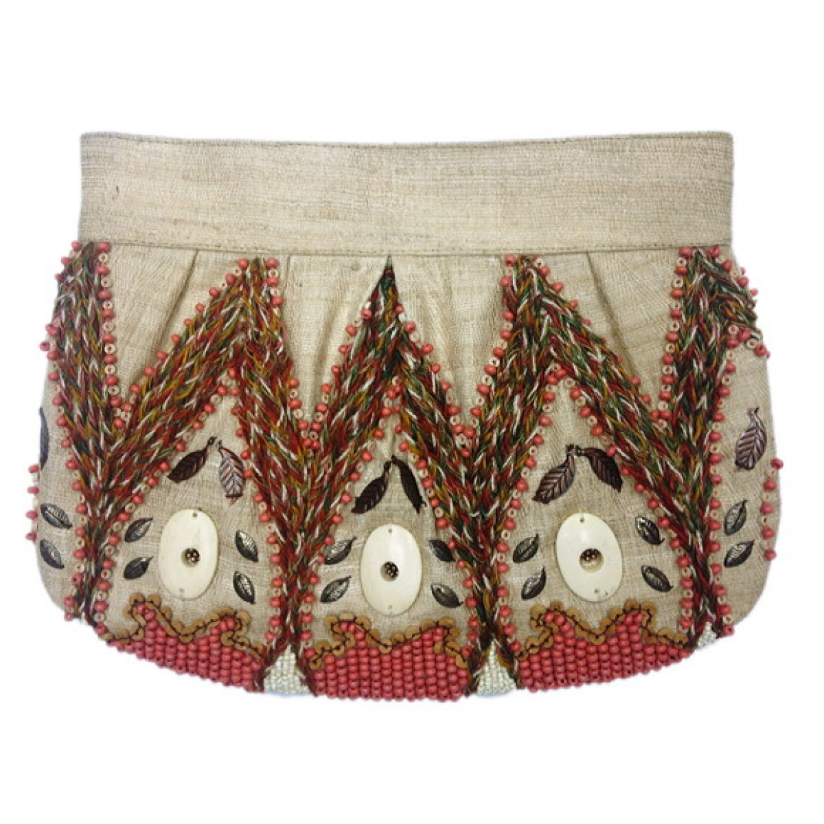 Pleated clutch With Bone / Wood Beads