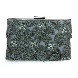 Rectangle Tonal Sequin Flower Clutch