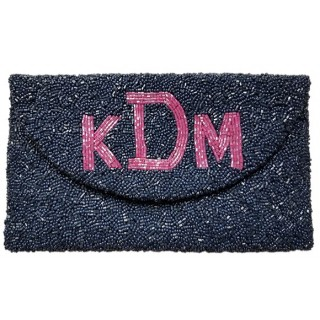 Round Flap Block Monogram Clutch