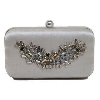 Satin Box Bag with Crystal Embellishment