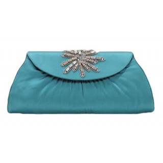 Satin Clutch with Crystal Snowflake Motif