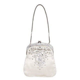 Satin purse with rhinestones