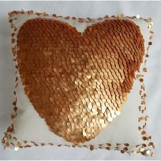 Sequin Heart Canvas Pillow