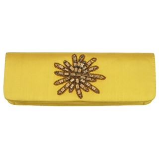 Silk Satin Clutch With Swarovski Crystals