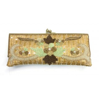 Slim Embroidered Flower Clutch