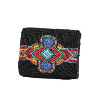 Soft Beaded Box Bag Tribal Print