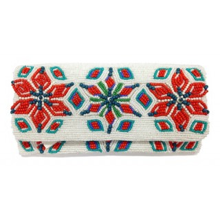 Star Flower Beaded Fold Over Clutch