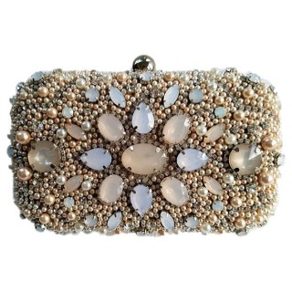 Stone Flowers Box Clutch