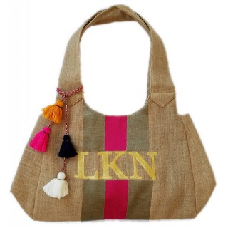 Stripe Monogram Beach Tote