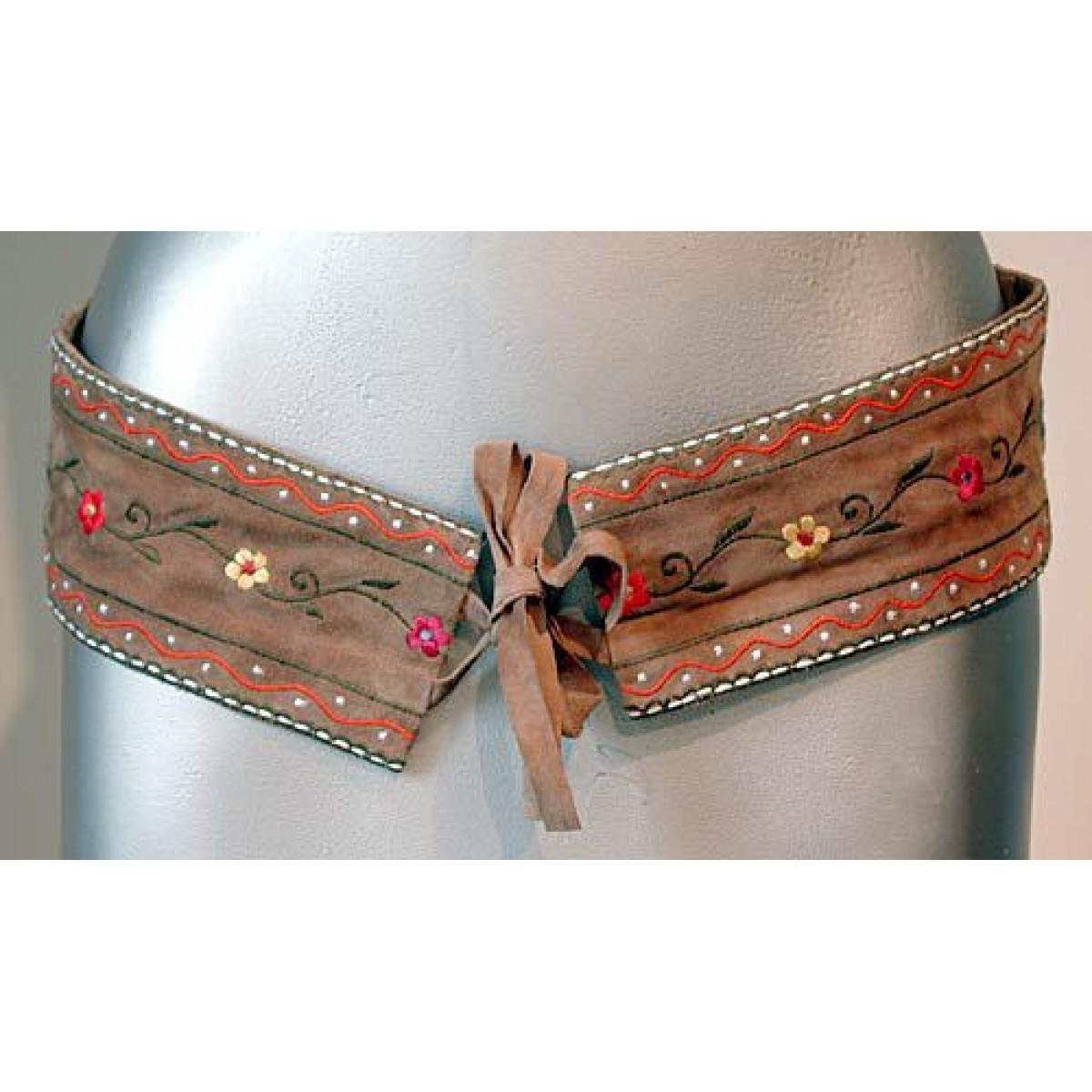 Suede Flower Embroidery Belt